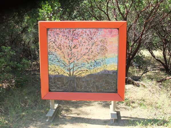 Winter Daybreak Handmade Ceramic Mosaic Landscape by Alicia Lee Farnsworth depicts a big oak tree and a glorious winter sunrise in Rural Lake County ,CA